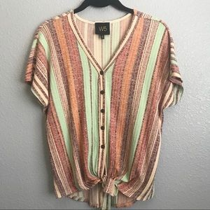 W5 Striped Knot Front Dolman Sleeve Pullover Shirt